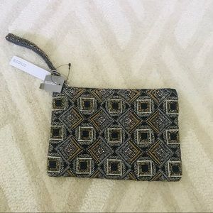 Chico's Glitzy Beaded Gold & Navy Party Clutch